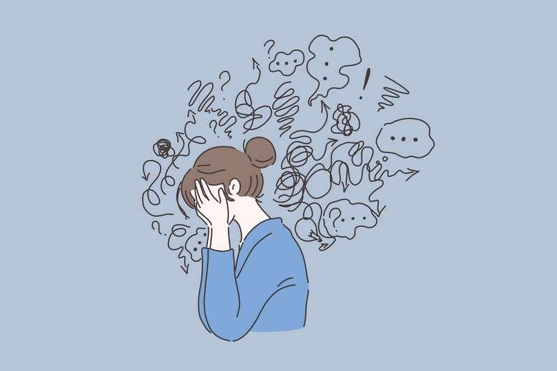 Ilustración de una mujer con depresión que llora