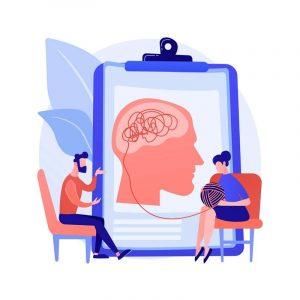 Ilustración de una sesión de psicoterapia