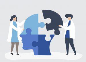 Ilustración de psicólogos reconstruyendo un cerebro con piezas de puzzle