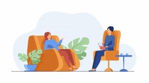 Ilustración terapeuta y paciente
