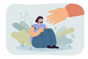 Ilustración de un psicólogo teniendo la mano a una persona con depresión