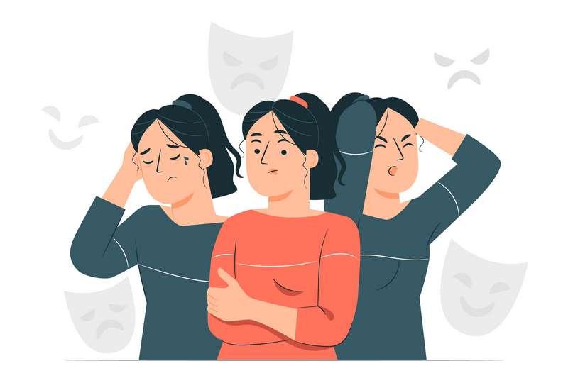 Ilustración de mujer con trastornos de la personalidad